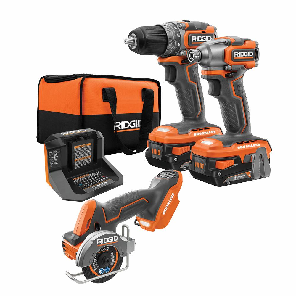 RIDGID 18-Volt SubCompact Li-Ion Brushless 2-Tool Combo Kit, 3 in. Multi-Material Saw with (2) 2 Ah Batteries, Charger and Bag was $534.0 now $289.0 (46.0% off)