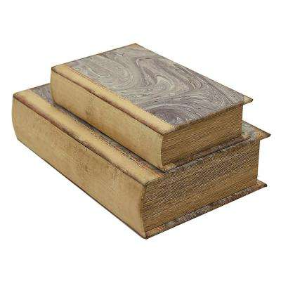 7.25 in. x 2.75 in. Book Boxes in Brown (Set of 2)