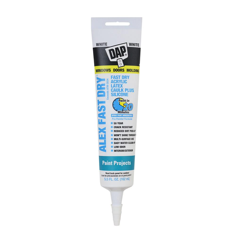 DAP Alex Fast Dry 5.5 oz. White Acrylic Latex Caulk Plus Silicone