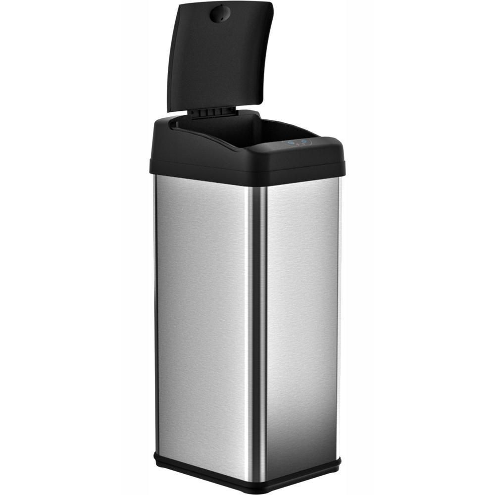iTouchless 13 Gal. Stainless Steel Square Extra-Wide Lid Opening Motion Sensing Touchless Trash Can