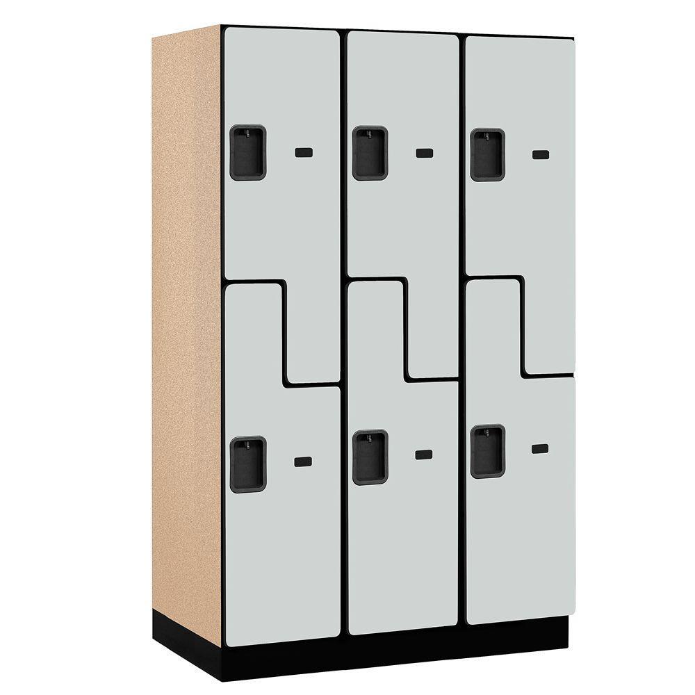 Salsbury Industries 27000 Series 2-Tier 'S-Style' Wood Extra Wide Designer Locker in Gray - 15 in. W x 76 in. H x 21 in. D (Set of 3)
