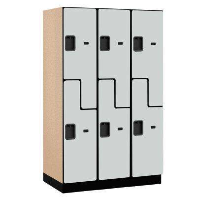27000 Series 2-Tier 'S-Style' Wood Extra Wide Designer Locker in Gray - 15 in. W x 76 in. H x 21 in. D (Set of 3)