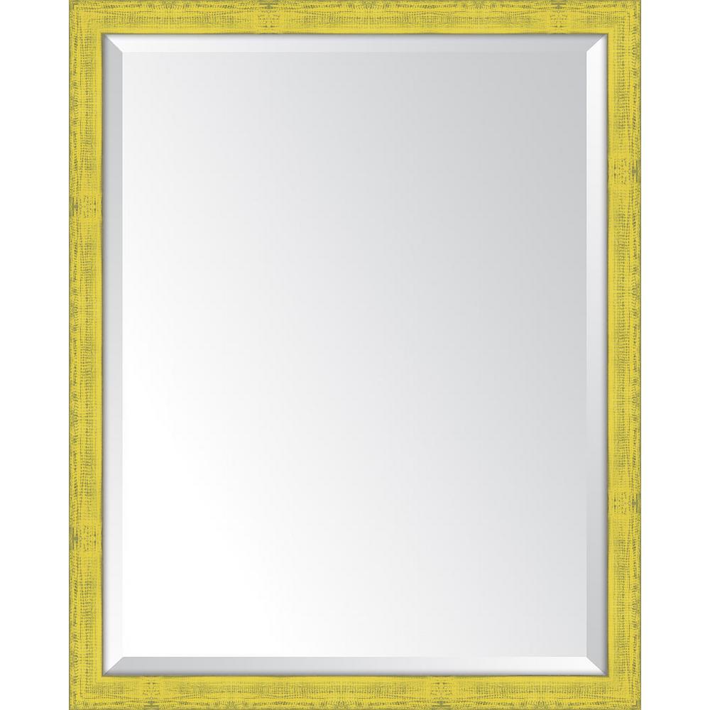 25 in. x 31 in. Framed Yellow Mirror