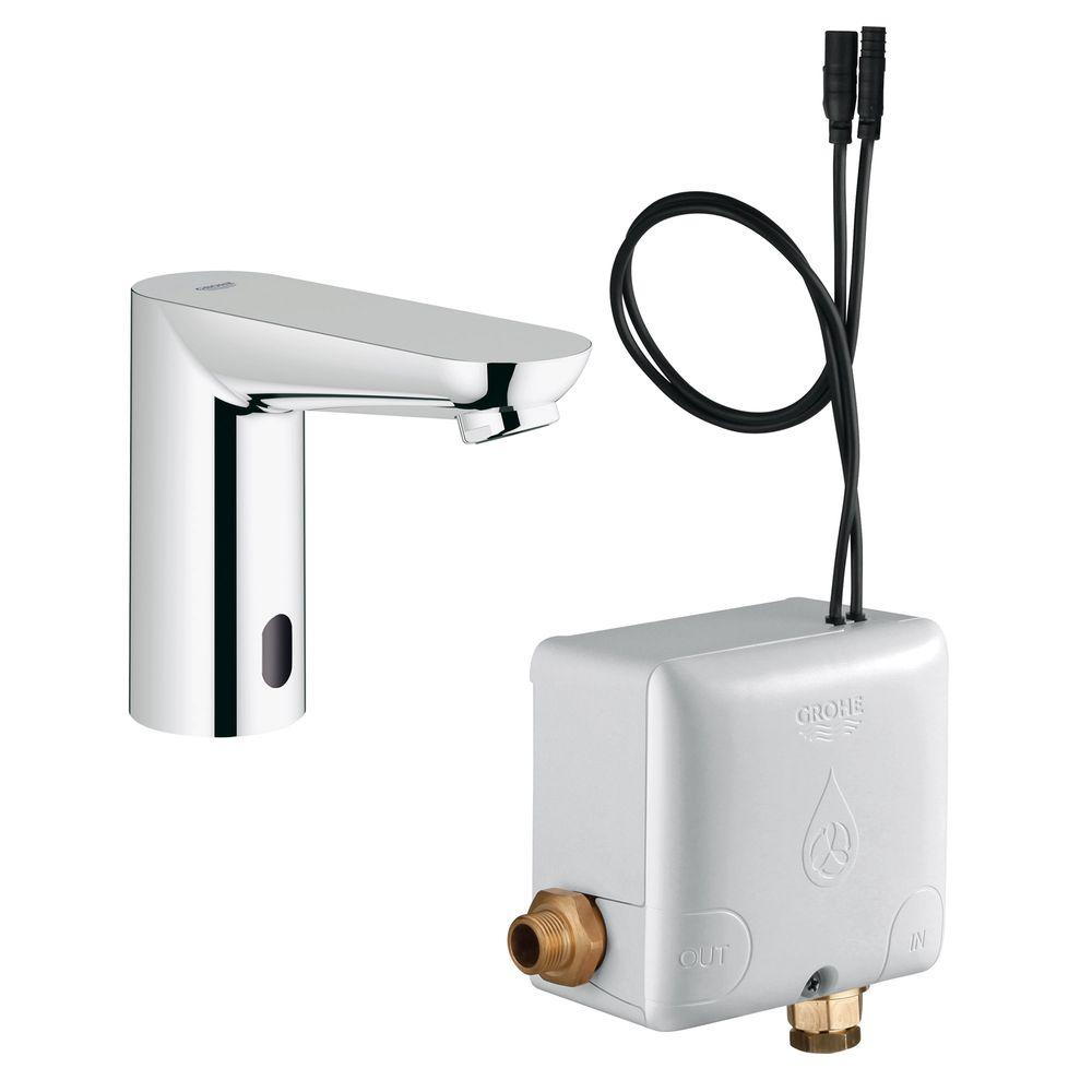 GROHE Euroeco Cosmopolitan E AC Powered Single Hole Touchless Bathroom  Faucet In StarLight Chrome