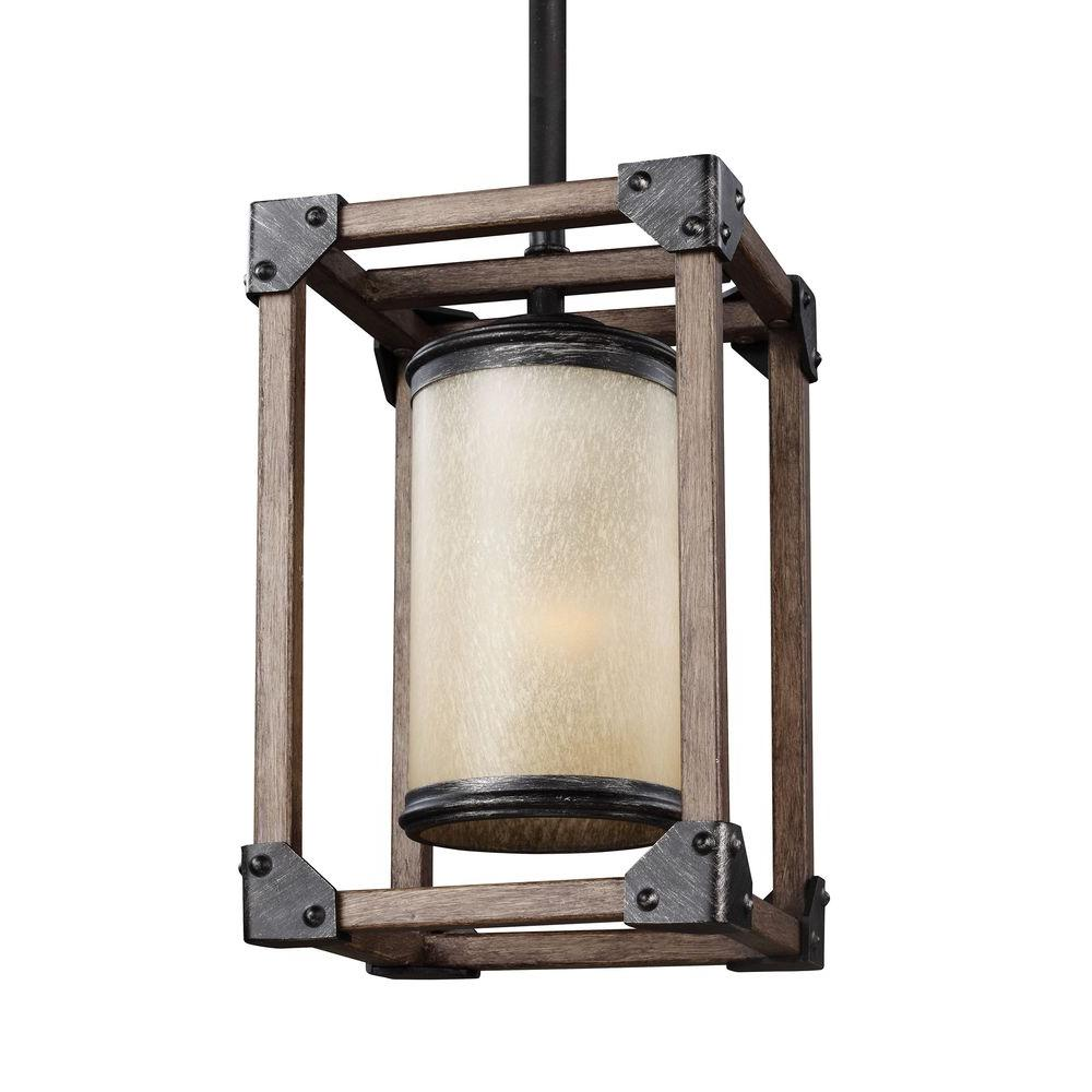 Sea Gull Lighting Dunning 6 In W 1 Light Weathered Gray And Distressed Oak Mini Pendant
