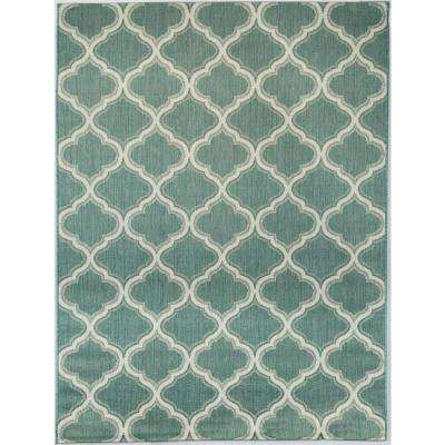 Trellis Teal 7 ft. 10 in. x 9 ft. 10 in. Indoor/Outdoor Area Rug