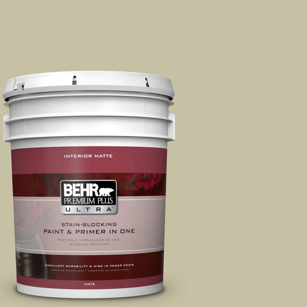 BEHR Premium Plus Ultra 5 gal. #S350-3 Washed Olive Matte Interior Paint