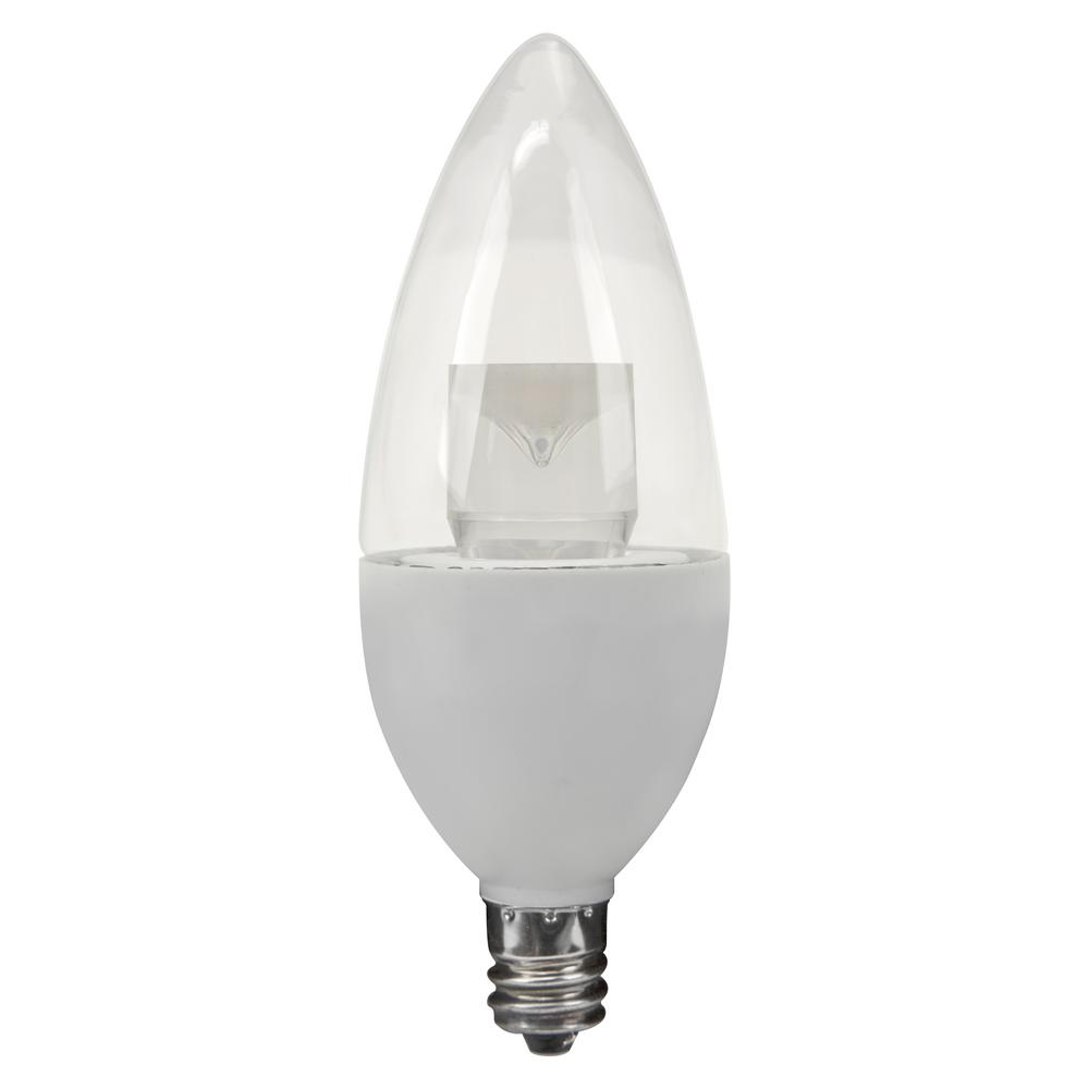 40W Equivalent Soft White B10 Candelabra Dimmable LED Light Bulb (3-Pack)
