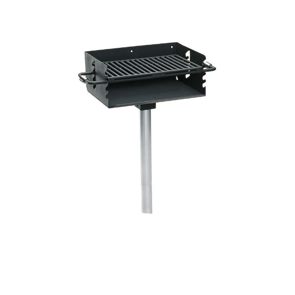 Ultra Play 3-1/2 in. Commercial Park Rotating Flipback Pedestal Charcoal Grill with Post