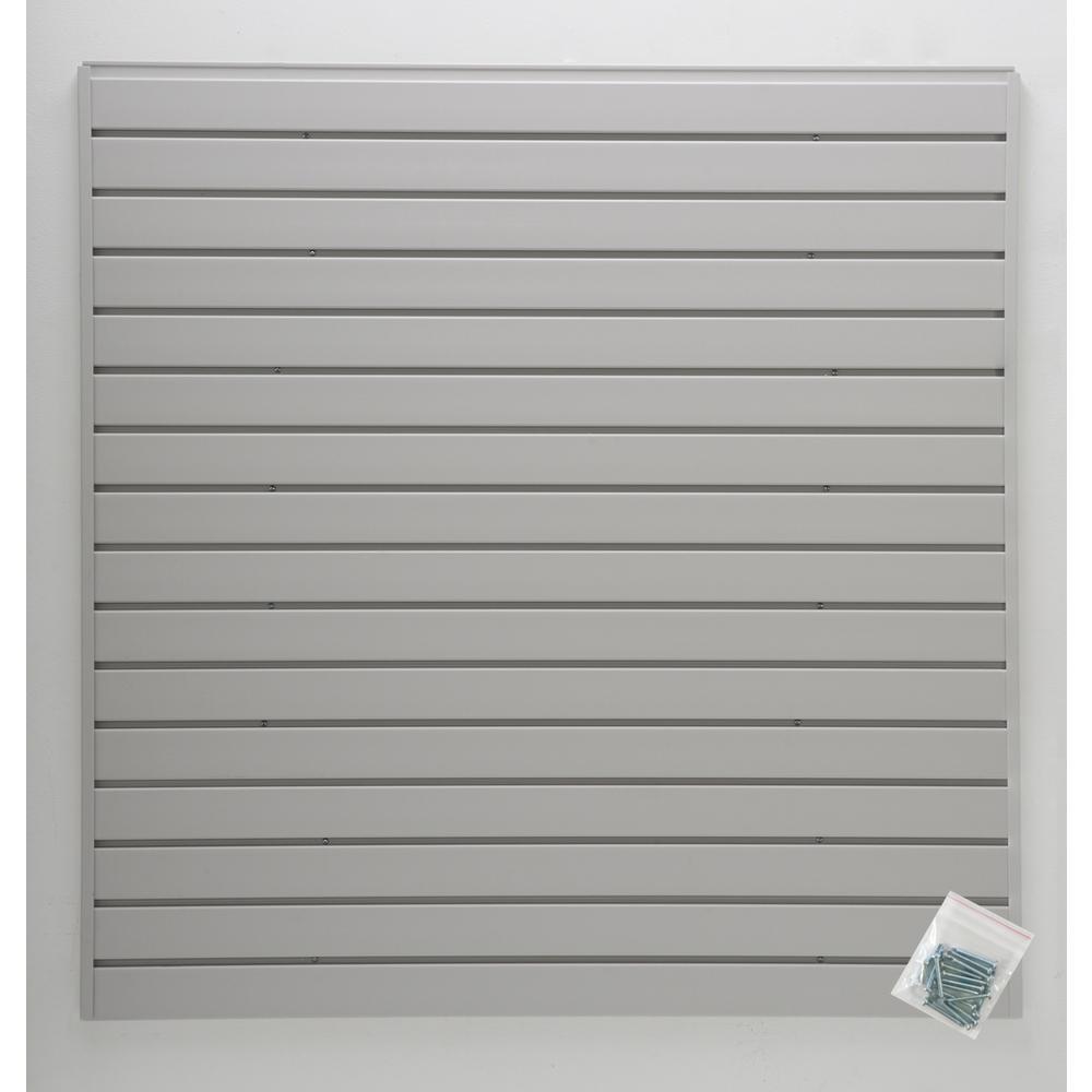 4 ft. x 4 ft. or 8 ft. x 2 ft. Light Gray Plastic Slat Wall Kit