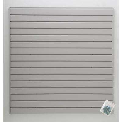 4 ft. x 4 ft. or 8 ft. x 2 ft. Light Gray Plastic Slat Wall Kit