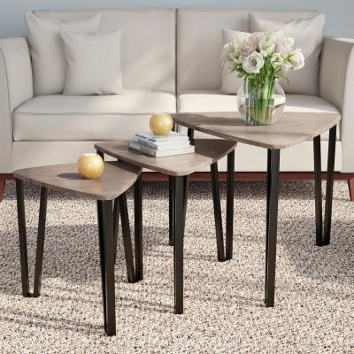 Modern Woodgrain Contemporary Nesting Accent Tables (Set of 3)