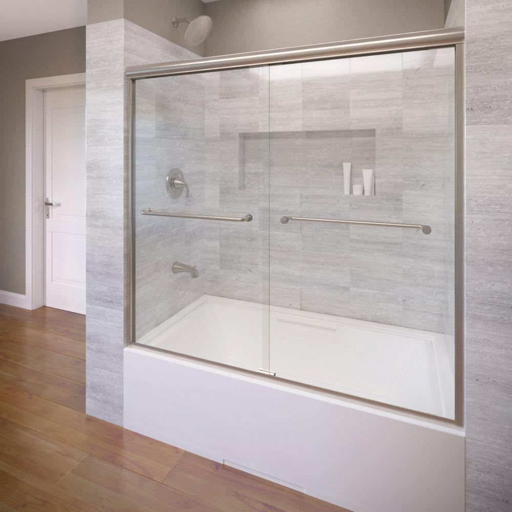 Basco Infinity 58-1/2 in. x 57 in. AquaglideXP Clear Semi-Frameless Sliding Tub Door in Brushed Nickel