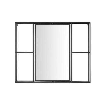 Medium Rectangle Black Classic Accent Mirror with Shelves (30 in. H x 36 in. W)