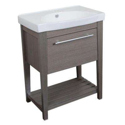 Lyden 27.5 in. W x 18 in. D x 36 in. H Single Vanity in Gray with Vitreous China Vanity Top in White with White Basin