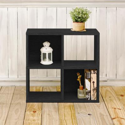 Quad 4-Cubby Black Eco zBoard Stackable Tool-Free Assembly Bookcase and Storage Shelf Organizer