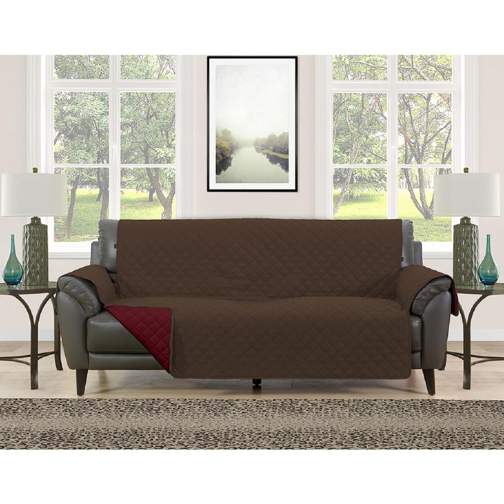 Awesome Barrett Burgundy/Brown Microfiber Reversible Couch Protector