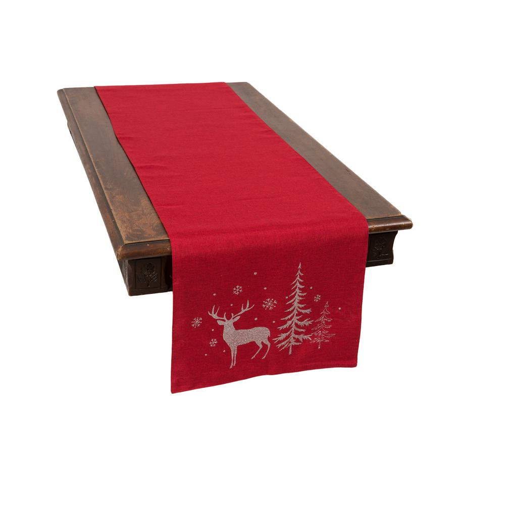 Christmas Table Runners.Xia Home Fashions 0 1 In H X 16 In W X 70 In D Deer In Snowing Forest Double Layer Christmas Table Runner In Red