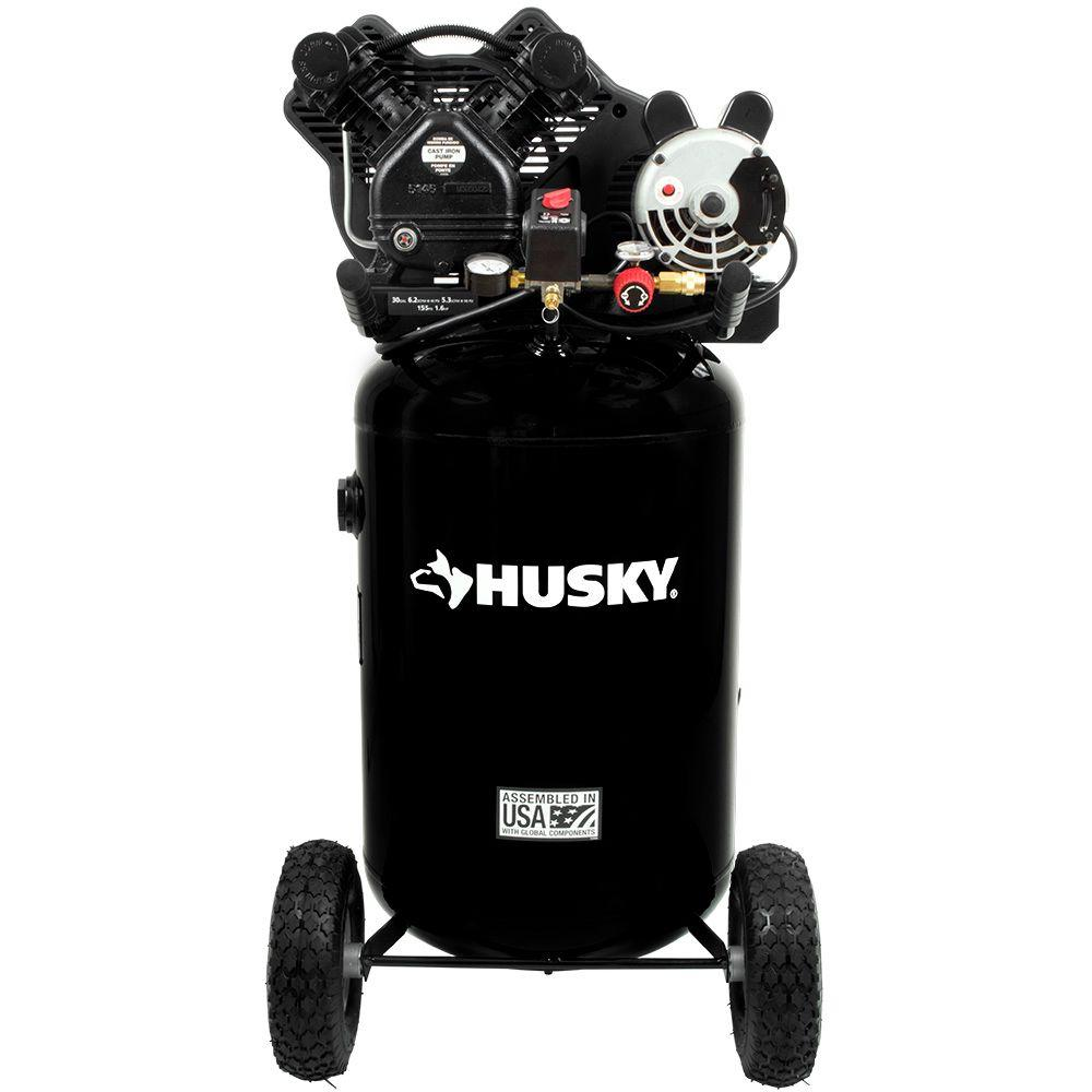 husky 30 gal 155 psi ultra quiet portable electric air compressor rh homedepot com