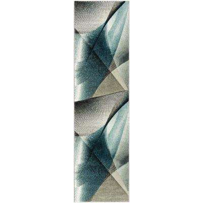 Hollywood Gray/Teal 2 ft. 3 in. x 10 ft. Runner Rug