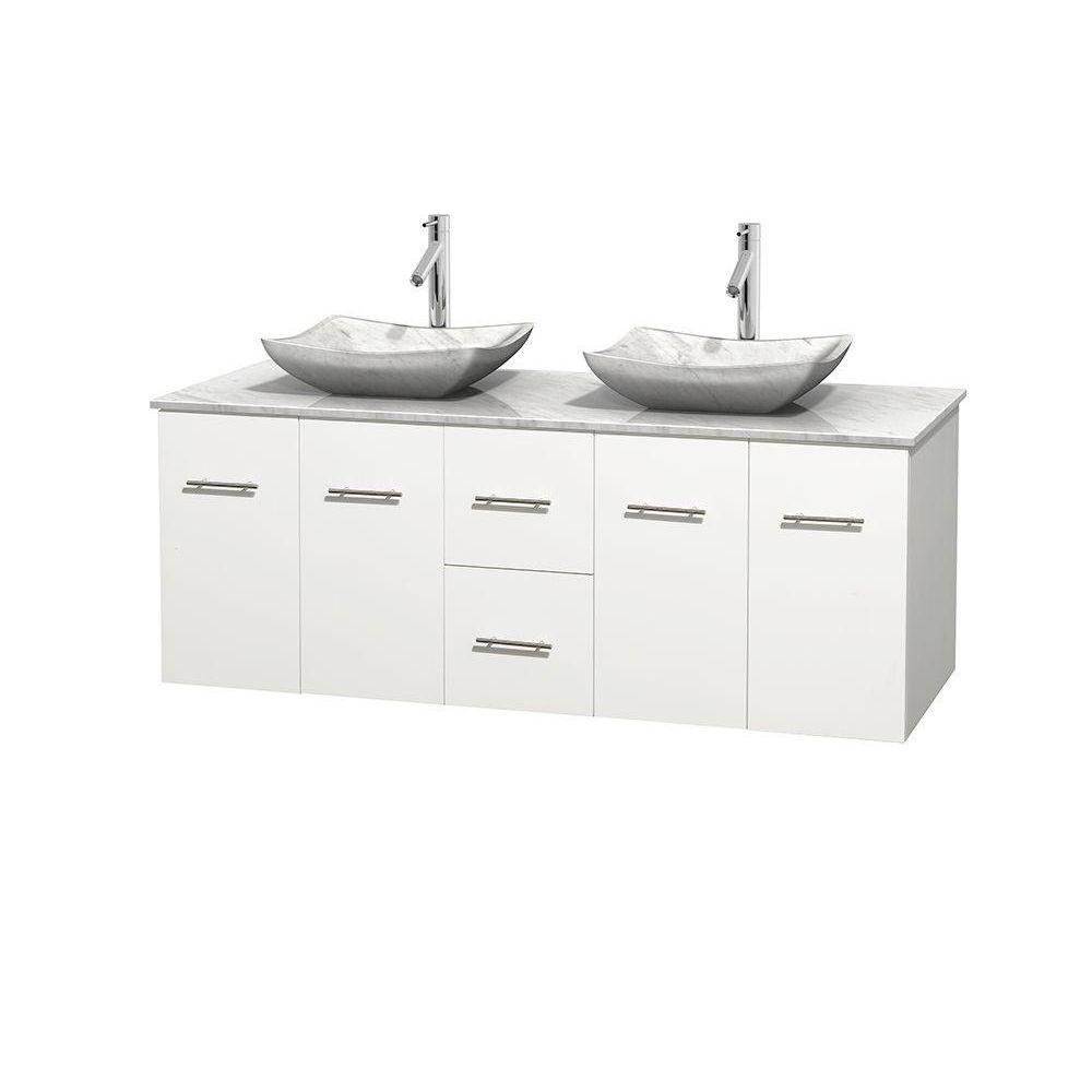 Wyndham Collection Centra 60 in. Double Vanity in White with Marble Vanity Top in Carrara White and Sinks