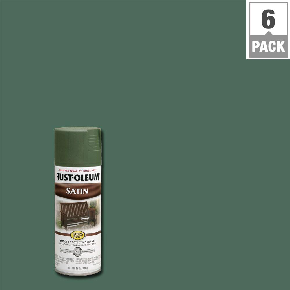 Rust Oleum Stops Rust 12 Oz Protective Enamel Satin Spruce Green Spray Paint 6 Pack