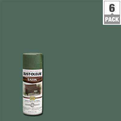 12 oz. Protective Enamel Satin Spruce Green Spray Paint (6-Pack)