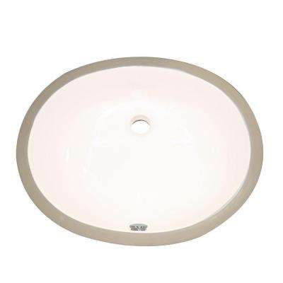 Undermount Vitreous China Bathroom Sink with Overflow in Biscuit