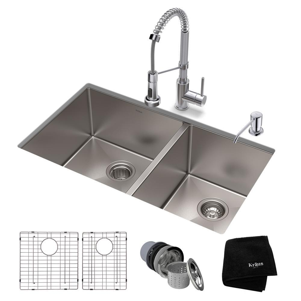 KRAUS Standart PRO All In One Undermount Stainless Steel 33 In. Double Bowl