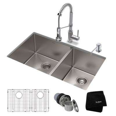 Standart PRO All-in-One Undermount Stainless Steel 33 in. Double Bowl Kitchen Sink with Faucet in Chrome