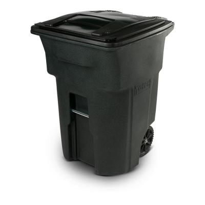 96 Gal. Greenstone Trash Can with Wheels and Attached Lid