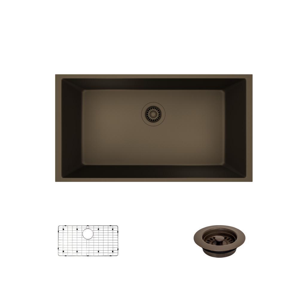 Undermount Composite Granite 32 5 8 In Single Bowl Kitchen Sink Umber