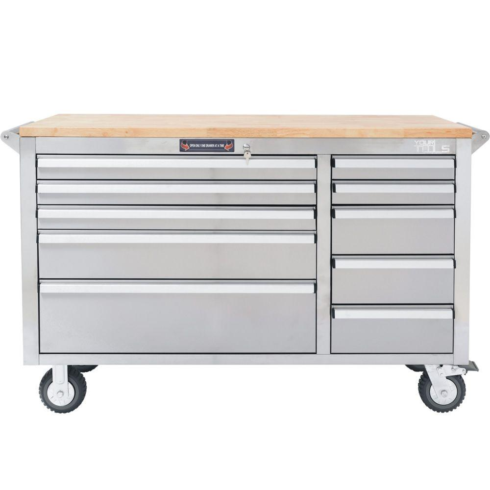 10 Drawer Tool Chest With Wooden Counter Top Stainless Steel