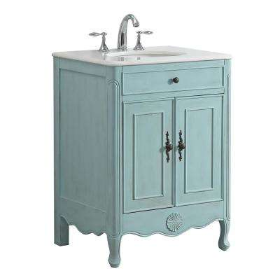 Provence 26 in. W x 21 in. D Vanity in Light Blue with Marble Vanity Top in White with White Basin