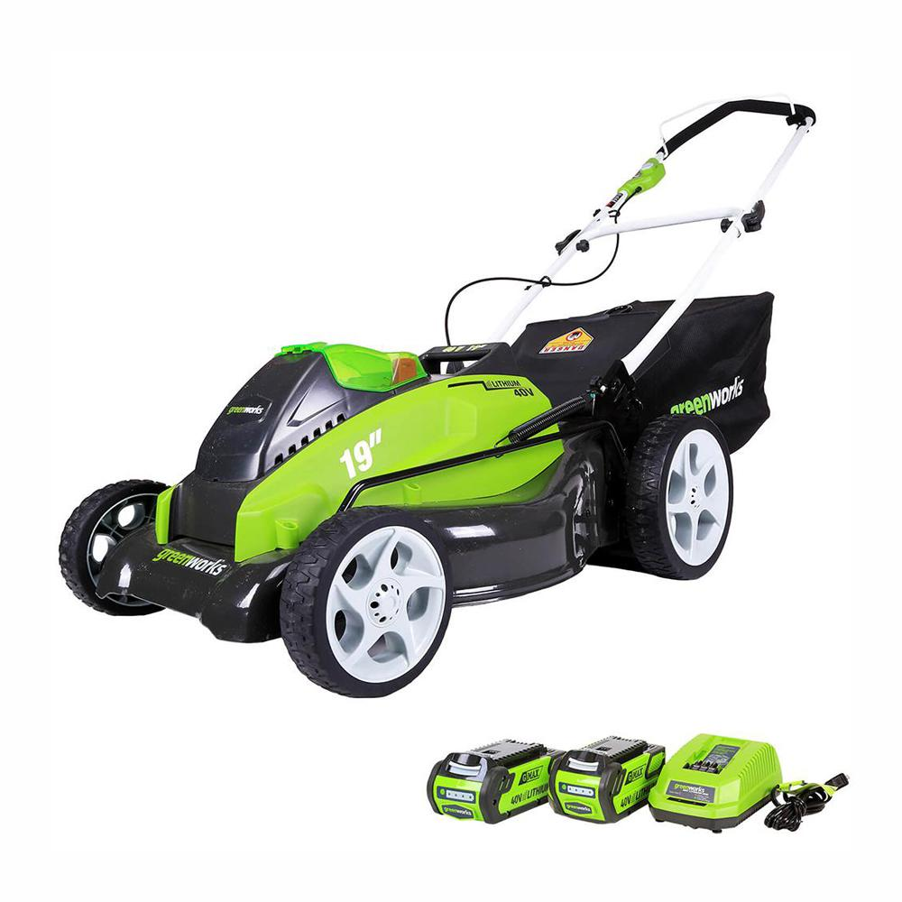 Greenworks G-MAX 19 in. 40-Volt Lithium-Ion Cordless Battery Walk Behind Push Lawn Mower - Battery/Charger Included