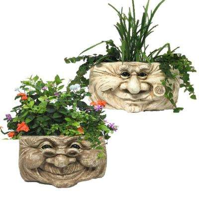 2-Piece Grandpa Old Hickory 10.5 in. Antique White and Grandma Violet Stone Wash the Muggly Tree Face Resin Wall Planter