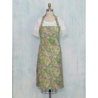 Jamavar Green Paisley Chef Kitchen Apron