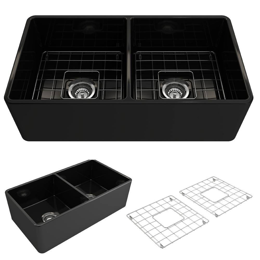 Classico Farmhouse Apron Front Fireclay 33 In. Double Bowl Kitchen Sink  With Bottom Grid And