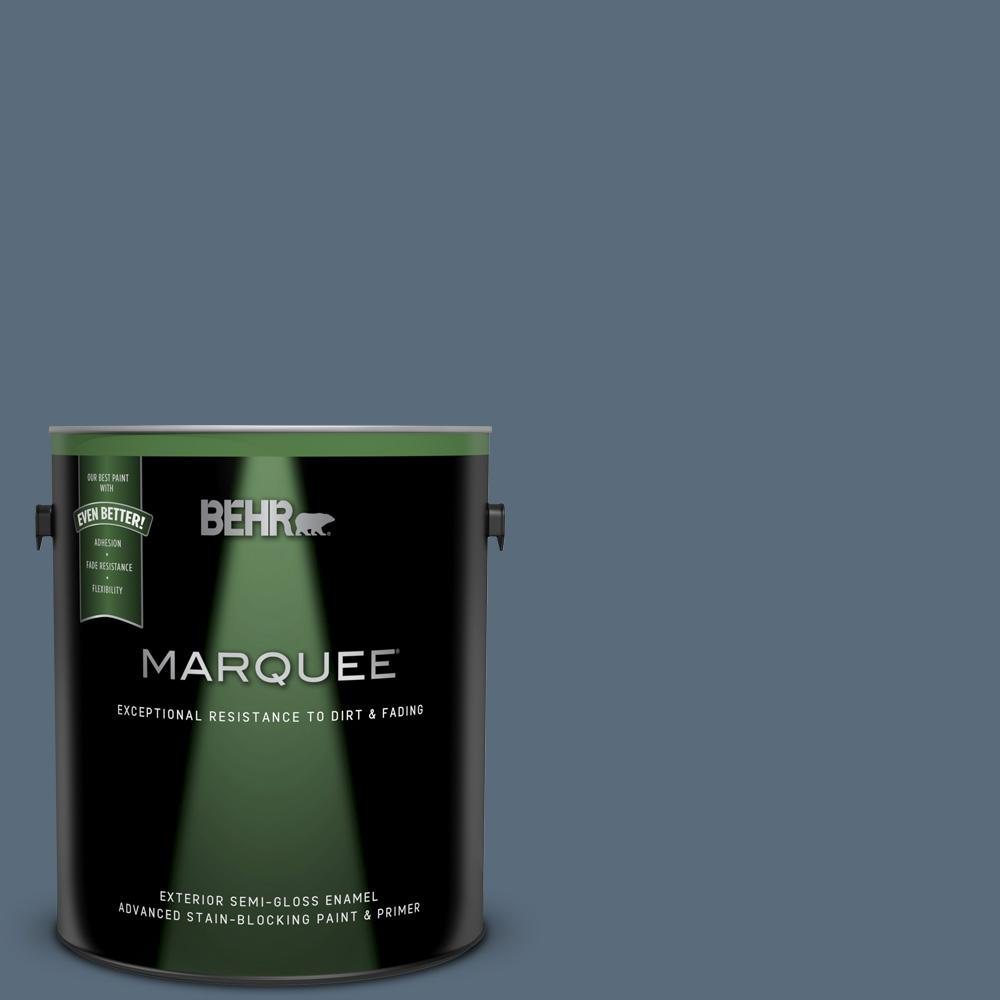 Behr Marquee 1 Gal Bnc 29 Dark Room Semi Gloss Enamel Exterior Paint And Primer In One 545301 The Home Depot
