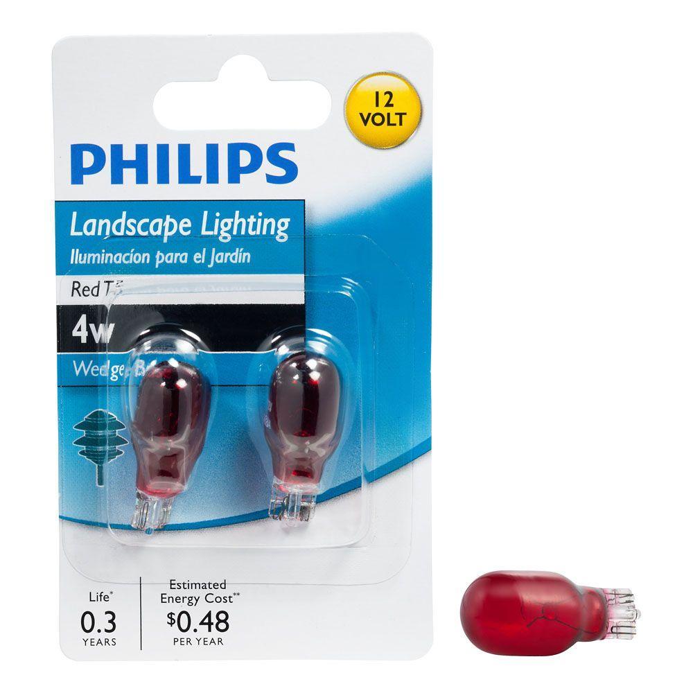Philips 4-Watt 12-Volt Incandescent T5 Red Landscape Lighting Wedge Base Light Bulb (2-Pack)