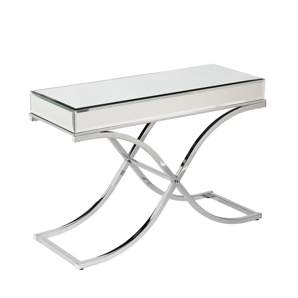 Southern Enterprises Alice Chrome Mirrored Console Table HD864990 The Home Depot