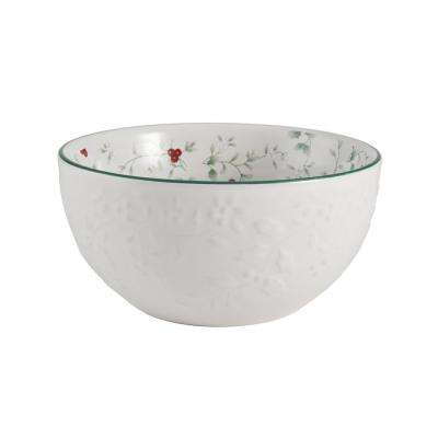 White Embossed Soup Cereal Bowls (Set of 4)