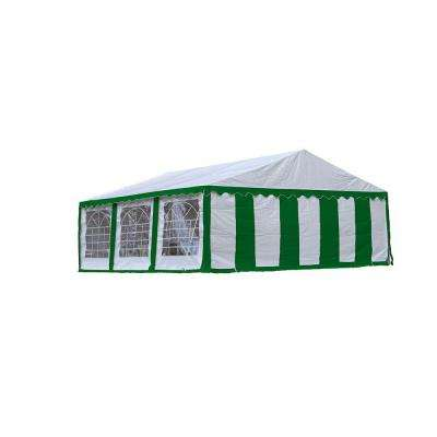 20 ft. x 20 ft. Green/White Party Tent with Enclosure Kit/Windows
