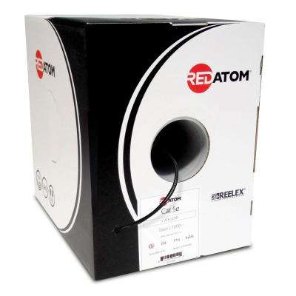 Cat5e 1000 ft. 24 AWG 4-Pair UTP Red Atom Cable, Black