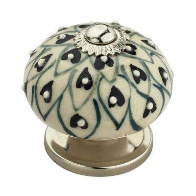 Crystalled 1-5/8 in. (42 mm) Black and Cream Cabinet Knob