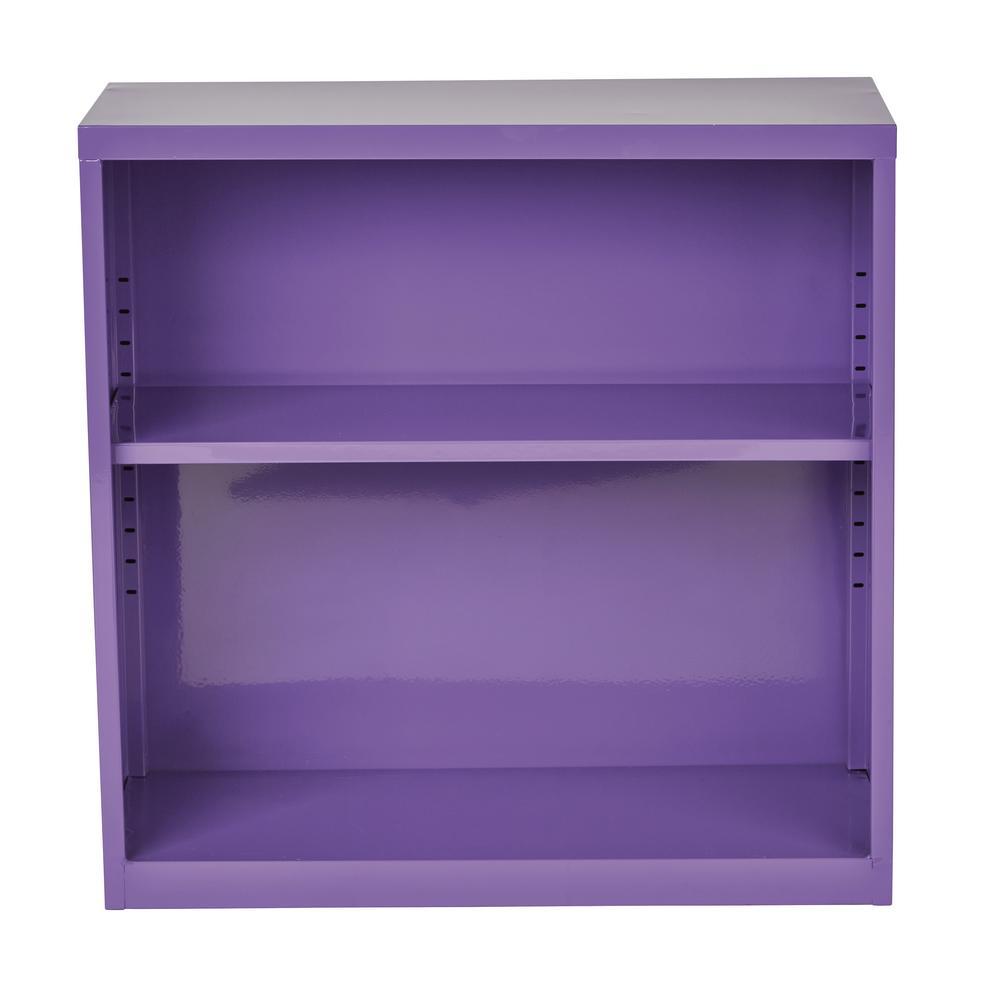 28 in. Purple Metal 2-shelf Standard Bookcase with Adjustable Shelves