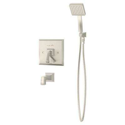 Oxford 1-Handle Tub/Hand Shower Trim Kit in Satin Nickel (Valve Not Included)