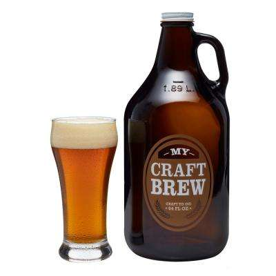 Craft Brews 4-Piece Glass Set with Glass Growler and Metal Cap