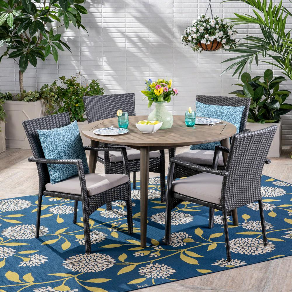 Noble House Haley Gray 5-Piece Wood And Wicker Outdoor