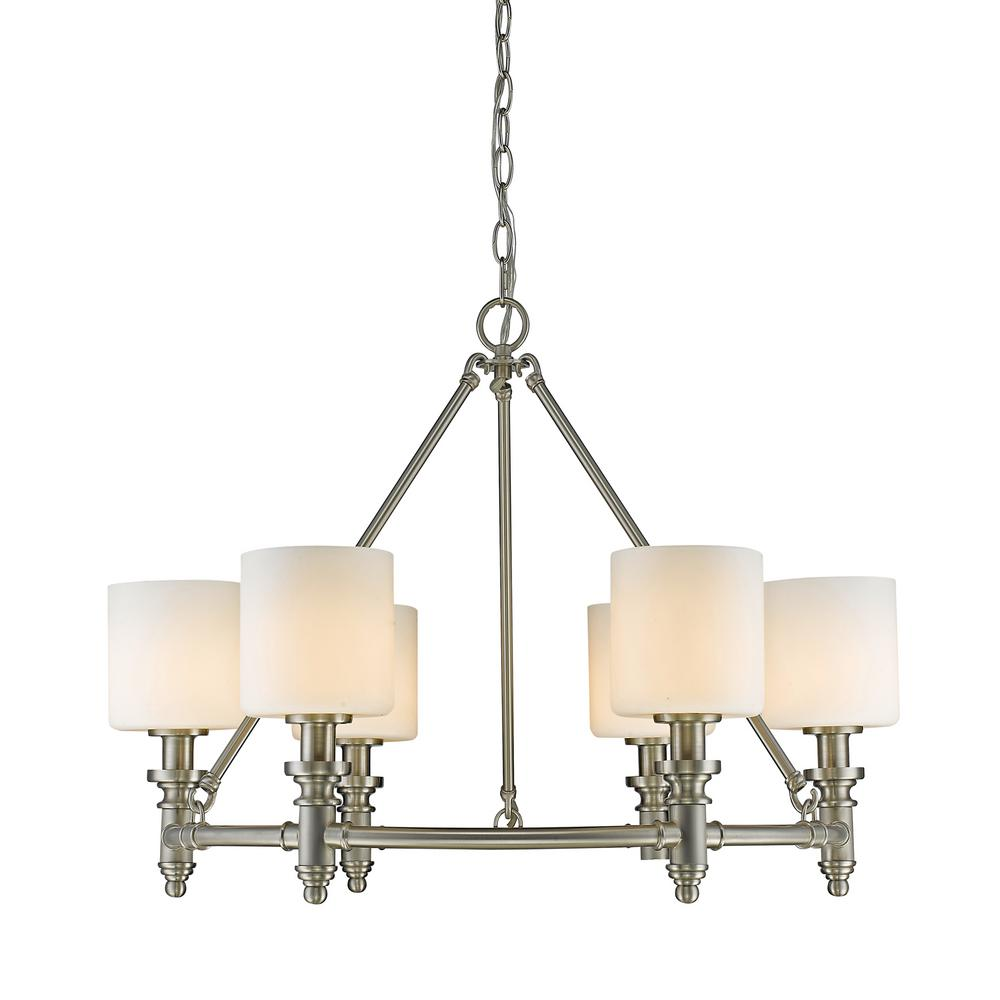 Beckford PW 6-Light Pewter Chandelier with Opal Glass Shade
